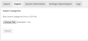 CSV Import Categories - Step 1