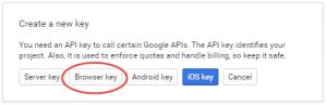Google API Console - API Key Type Popup
