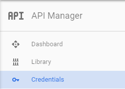 Google API Console - Credentials Navigation Link