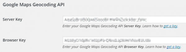 Screenshot - Connections : Settings - Google Maps API Keys