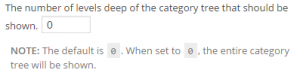 Category Widget: Choose how 'deep' to display the category tree.