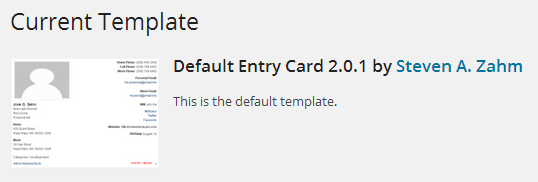 Activate Default Card Template