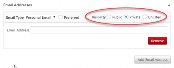 Set email address visibility to private.