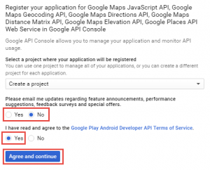 Google API Console - Create a new project.