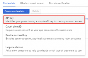 Google API Console - API Key Type