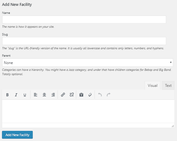 Adding a new facility screenshot.