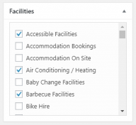 Screenshot of the facilities assignment metabox.