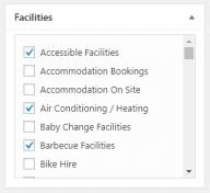 Screenshot of the facilities assignment metabox.