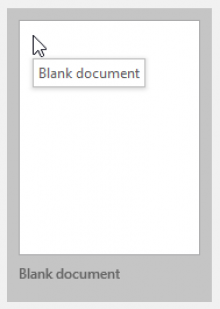 Screenshot: Word 2016 New Document