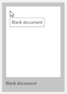 Screenshot: Word 2016 New Document